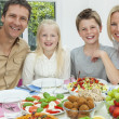 Parents Children Family Healthy Eating Salad Table — Stockfoto