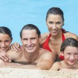 Happy Family In Swimming Pool - 图库照片