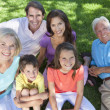 Parents Grandparents Children Family Relaxing Outside — Stock Photo #21643915