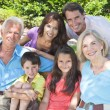 Happy Parents Grandparents Children Family Outside — Stock Photo