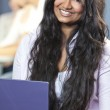Indian Asian Female Student Using Laptop Computer — Stock Photo #21645651