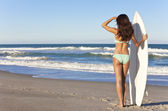 Beautiful Woman Surfer In Bikini With Surfboard At Beach — Stock Photo