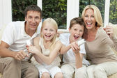 Happy Family Having Fun Playing Video Console Games — Stock Photo
