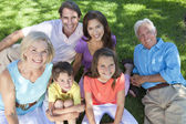 Parents Grandparents Children Family Relaxing Outside — Stock Photo