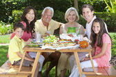 Parents Grandparents Children Family Healthy Eating Outside — Stock Photo