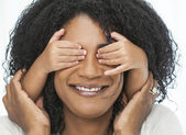 African American Woman Child Playing Hands Over Eyes — Stock Photo