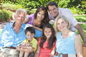 Família de crianças de avós pais felizes lá fora — Fotografia Stock