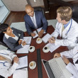 Foto Stock: Interracial Medical Business Team Meeting in Boardroom