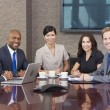 Interracial Men & Women Business Team Meeting in Boardroom — Stock Photo #21711027