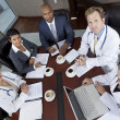 Interracial Medical Business Team Meeting in Boardroom — 图库照片