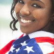 African American Woman Girl in American Flag on Beach — Foto Stock