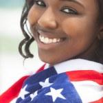 African American Woman Girl in American Flag on Beach — Stock Photo
