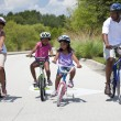 African American Family Parents and Children Cycling — Stock Photo #21711695