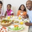 African American Parents Children Family Eating At Dining Table — Stock Photo #21711735