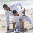 African American Father Son Playing Soccer Beach — Stock Photo