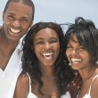Happy African American Family On Beach — Stockfoto