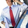 Businessman or Architect On Cell Phone By Car — Stock Photo