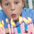 Boy Child Blowing Out Birthday Cake Candles — Stock Photo