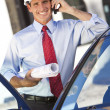 Businessman Architect In Hard Hat On Cell Phone By Car — Stock Photo