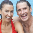 Man & Woman Couple Relaxing In Swimming Pool — Stock Photo