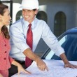 Woman & Man In Hard Hat on Construction Site — Stock Photo #21717669