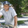 Fit & Healthy African American Man Riding Bike — Stock Photo