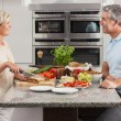 Man Woman Couple Making Sandwiches in Kitchen — Stock Photo
