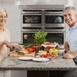 Man Woman Couple Making Sandwiches in Kitchen — Stockfoto