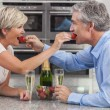 Man & Woman Couple Kitchen Strawberries Champagne — Stock Photo