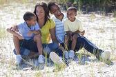 Lycklig amerikansk familj utanför — Stockfoto