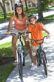 African American Woman Mother WIth Boy Son Riding Bike — Stock Photo