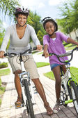 African American Woman and Girl, Mother & Daughter, Cycling — Stock Photo