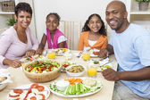 African American Parents Children Family Eating At Dining Table — Stockfoto