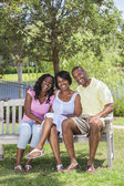 African American Family Parents & Girl Child — Stock Photo