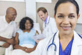 Female Hispanic Latina Hospital Doctor & Patient — Stock Photo