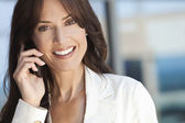 Happy Woman or Businesswoman Talking on Cell Phone — Stockfoto