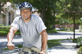 Fit & Healthy African American Man Riding Bike — Stockfoto