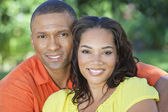 African American Woman & Man Couple Outside — Stock Photo