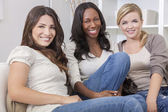 Interracial Group of Three Beautiful Women Friends Smiling — Stock Photo