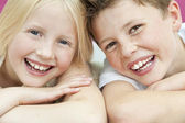 Happy Boy & Girl Children Brother and Sister Laughing — Stock Photo