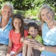 Happy Grandparents and Children Family Outside - Stock Photo
