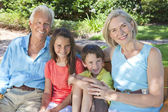 Happy Grandparents and Children Family Outside — Stock Photo