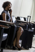 African American Woman Girl On Cell Phone Airport — Stock Photo