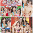 Mother, Father & Children Family Playing at Waterpark - Stock Photo