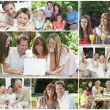 Happy Families Having Fun Inside, Outside & Eating — Stock Photo