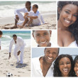 African American Family Montage Outside Beach Summer — Stock Photo