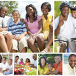 Stock Photo: African American Families Montage Outside Summer