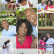 Montage Senior African American Couple Outside — Stock Photo #21741041
