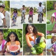 Montage of Young Healthy African American Family Lifestyle - Stock Photo