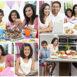 Montage of Asian Indian Family Eating Healthy Food - 图库照片